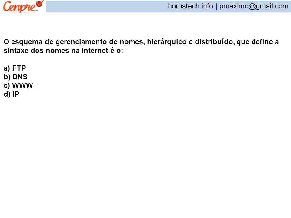 pmaximo@gmail.com horustech.info | pmaximo@gmail.com O esquema de gerenciamento de nomes, hierárquico e distribuído, que define a sintaxe dos nomes na