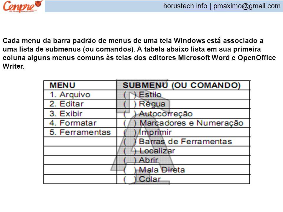 pmaximo@gmail.com horustech.info | pmaximo@gmail.com Cada menu da barra padrão de menus de uma tela Windows está associado a uma lista de submenus (ou