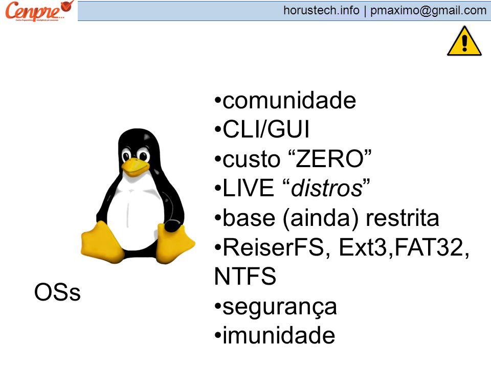 pmaximo@gmail.com horustech.info | pmaximo@gmail.com OSs comunidade CLI/GUI custo ZERO LIVE distros base (ainda) restrita ReiserFS, Ext3,FAT32, NTFS s