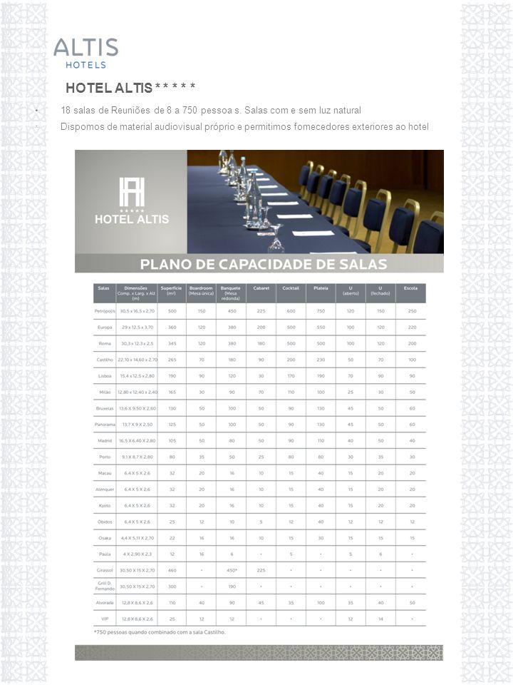 18 salas de Reuniões de 8 a 750 pessoa s.