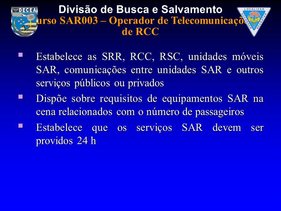Divisão de Busca e Salvamento Curso SAR003 – Operador de Telecomunicações de RCC Estabelece as SRR, RCC, RSC, unidades móveis SAR, comunicações entre