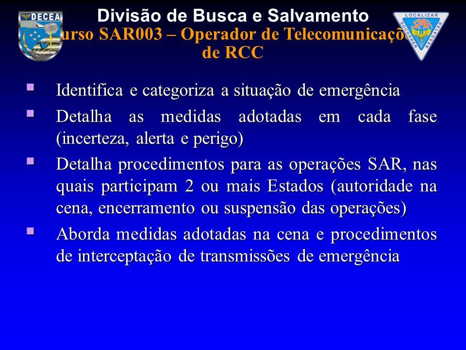 Divisão de Busca e Salvamento Curso SAR003 – Operador de Telecomunicações de RCC Identifica e categoriza a situação de emergência Identifica e categor