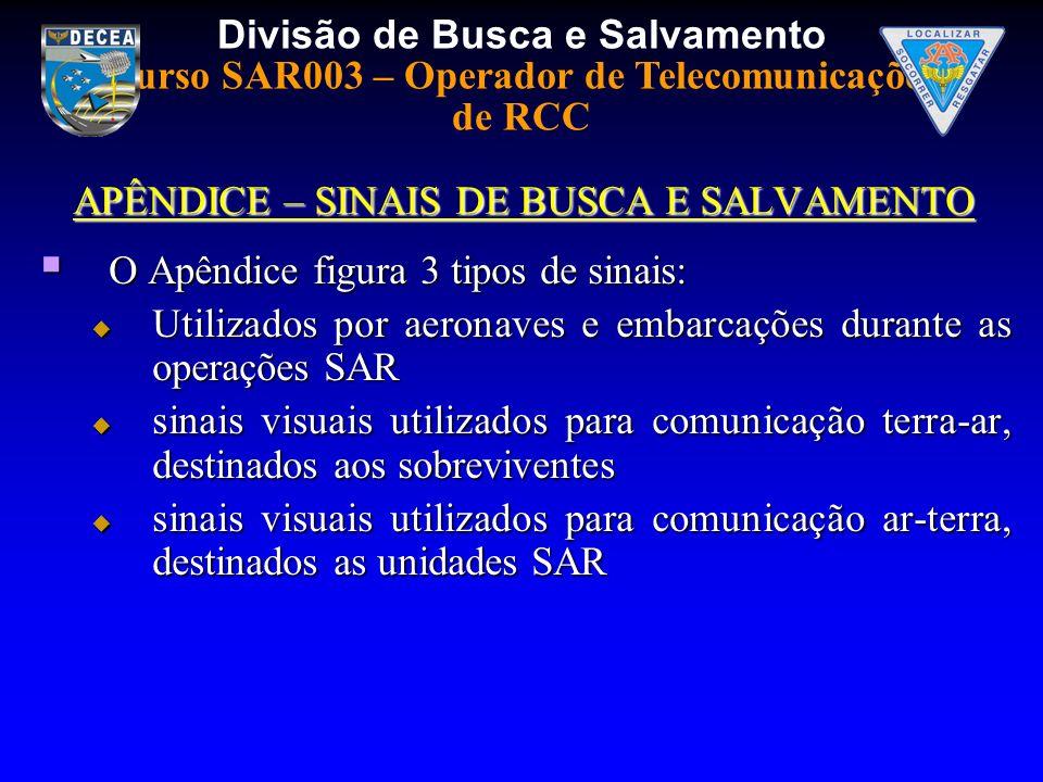 Divisão de Busca e Salvamento Curso SAR003 – Operador de Telecomunicações de RCC APÊNDICE – SINAIS DE BUSCA E SALVAMENTO O Apêndice figura 3 tipos de