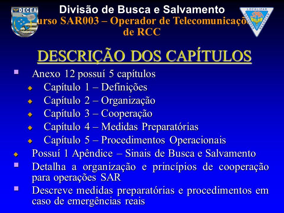 Divisão de Busca e Salvamento Curso SAR003 – Operador de Telecomunicações de RCC DESCRIÇÃO DOS CAPÍTULOS Anexo 12 possuí 5 capítulos Anexo 12 possuí 5