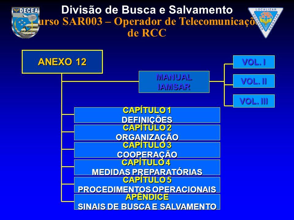 Divisão de Busca e Salvamento Curso SAR003 – Operador de Telecomunicações de RCC CAPÍTULO 2 ORGANIZAÇÃO ANEXO 12 MANUAL MANUALIAMSAR VOL. I VOL. II VO
