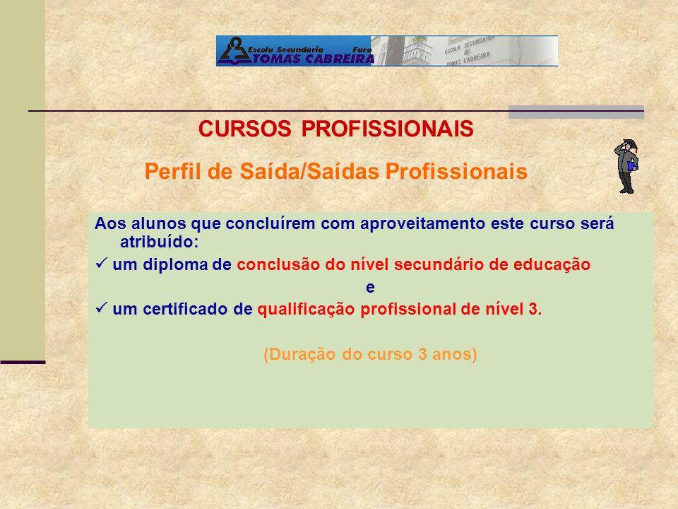 Aos alunos que concluírem com aproveitamento este curso será atribuído: um diploma de conclusão do nível secundário de educação e um certificado de qu