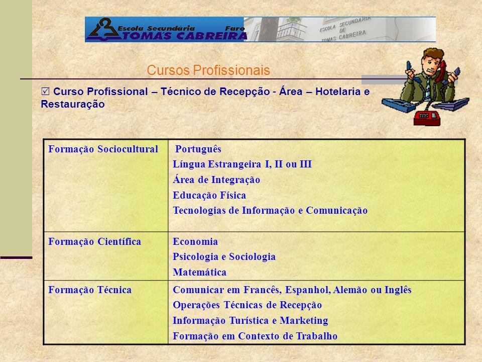 Cursos Profissionais Curso Profissional – Técnico de Recepção - Área – Hotelaria e Restauração Formação Sociocultural Português Língua Estrangeira I,