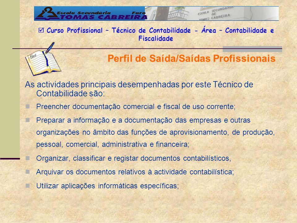 Perfil de Saída/Saídas Profissionais Curso Profissional – Técnico de Contabilidade - Área – Contabilidade e Fiscalidade As actividades principais dese