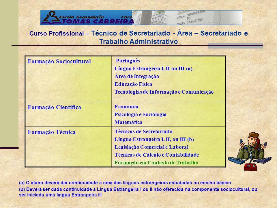 Curso Profissional – Técnico de Secretariado - Área – Secretariado e Trabalho Administrativo Formação Sociocultural Português Língua Estrangeira I, II