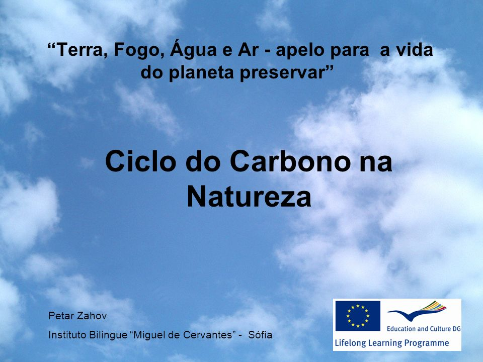 Terra, Fogo, Água e Ar - apelo para a vida do planeta preservar Petar Zahov Instituto Bilingue Miguel de Cervantes - Sófia Ciclo do Carbono na Naturez