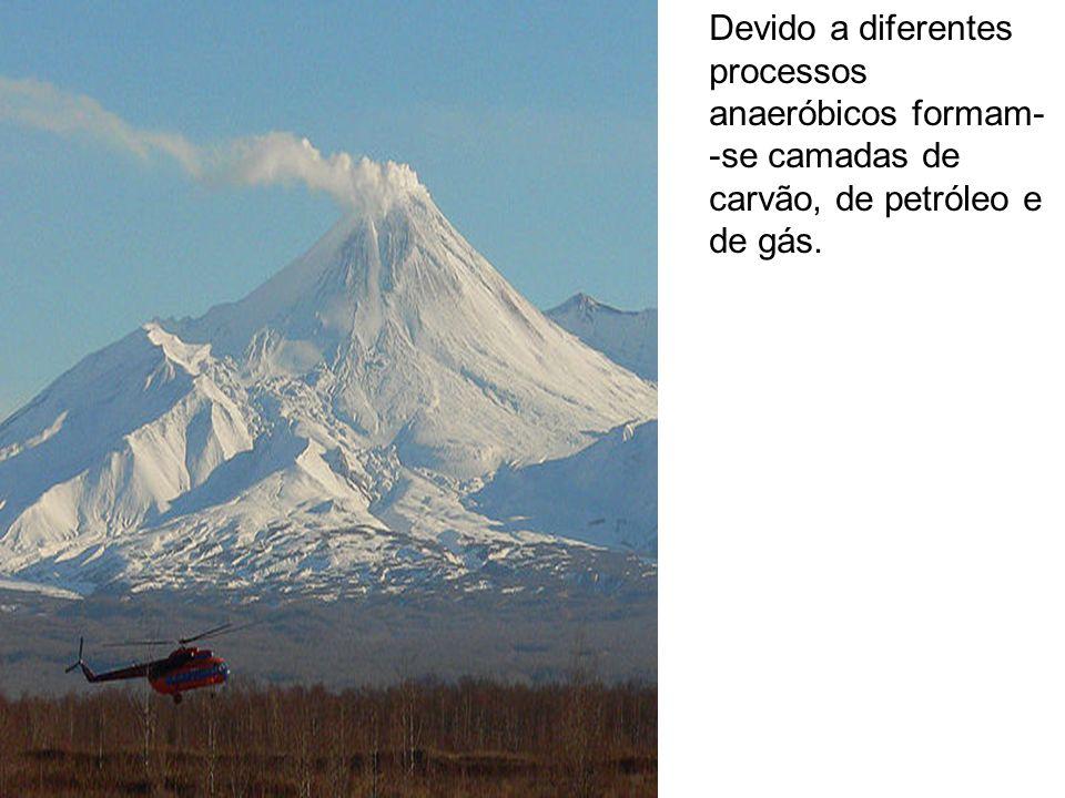 Devido a diferentes processos anaeróbicos formam- -se camadas de carvão, de petróleo e de gás.