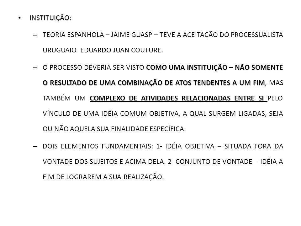 INSTITUIÇÃO: INSTITUIÇÃO: – TEORIA ESPANHOLA – JAIME GUASP – TEVE A ACEITAÇÃO DO PROCESSUALISTA URUGUAIO EDUARDO JUAN COUTURE. COMO UMA INSTITUIÇÃO NÃ