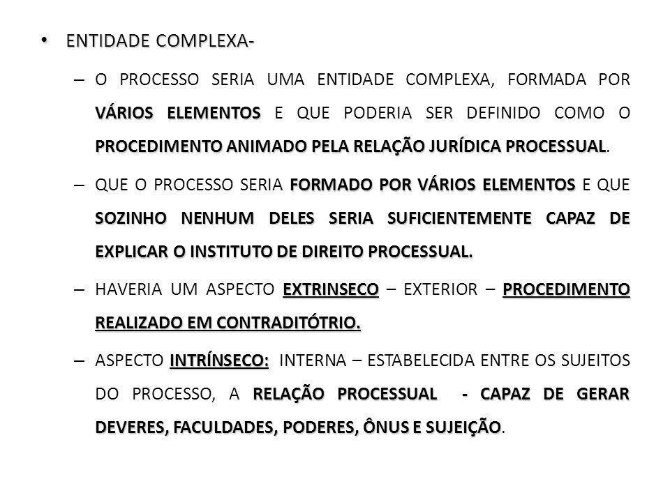 ENTIDADE COMPLEXA- ENTIDADE COMPLEXA- VÁRIOS ELEMENTOS PROCEDIMENTO ANIMADO PELA RELAÇÃO JURÍDICA PROCESSUAL – O PROCESSO SERIA UMA ENTIDADE COMPLEXA,
