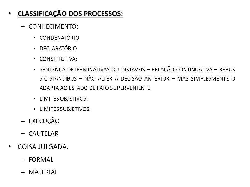 CLASSIFICAÇÃO DOS PROCESSOS: CLASSIFICAÇÃO DOS PROCESSOS: – CONHECIMENTO: CONDENATÓRIO DECLARATÓRIO CONSTITUTIVA: SENTENÇA DETERMINATIVAS OU INSTAVEIS