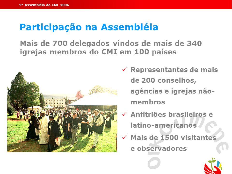 9ª Assembléia do CMI 2006 Participação na Assembléia Representantes de mais de 200 conselhos, agências e igrejas não- membros Anfitriões brasileiros e