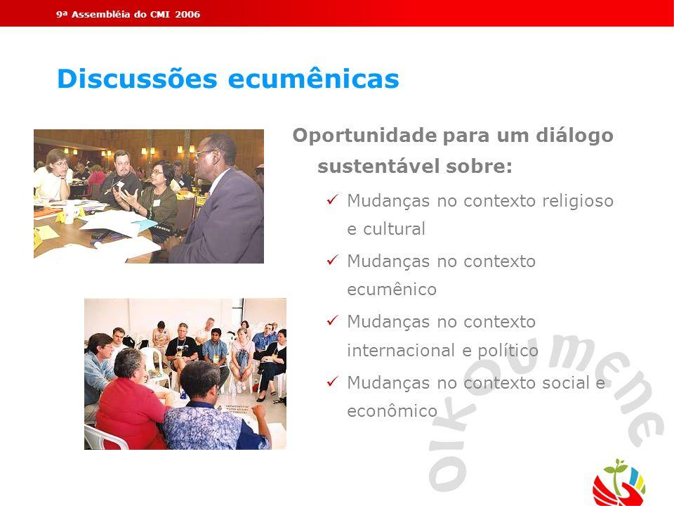 9ª Assembléia do CMI 2006 Discussões ecumênicas Oportunidade para um diálogo sustentável sobre: ü Mudanças no contexto religioso e cultural ü Mudanças
