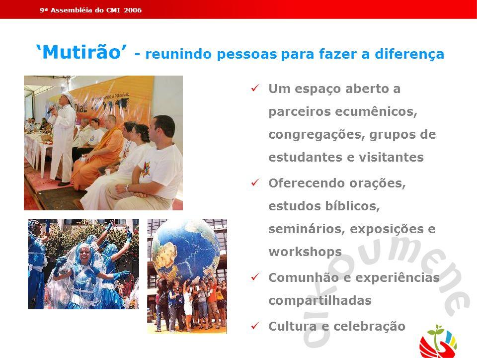 9ª Assembléia do CMI 2006 Mutirão - reunindo pessoas para fazer a diferença Um espaço aberto a parceiros ecumênicos, congregações, grupos de estudante
