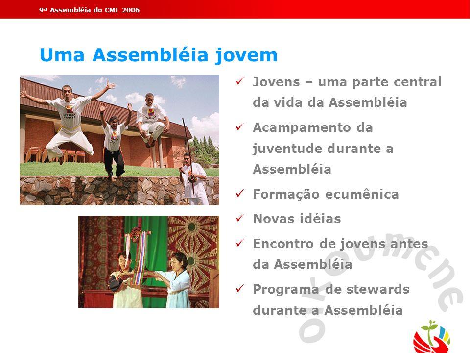 9ª Assembléia do CMI 2006 Uma Assembléia jovem üJovens – uma parte central da vida da Assembléia üAcampamento da juventude durante a Assembléia üForma