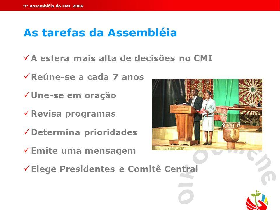 9ª Assembléia do CMI 2006 As tarefas da Assembléia ü A esfera mais alta de decisões no CMI ü Reúne-se a cada 7 anos ü Une-se em oração ü Revisa progra