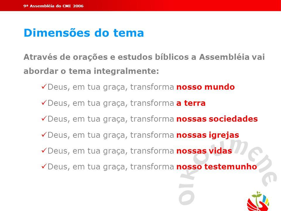 9ª Assembléia do CMI 2006 Dimensões do tema Através de orações e estudos bíblicos a Assembléia vai abordar o tema integralmente: Deus, em tua graça, t