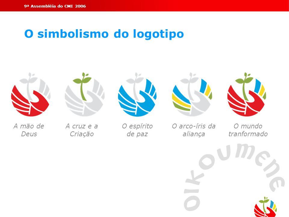 9ª Assembléia do CMI 2006 O simbolismo do logotipo A mão de Deus A cruz e a Criação O espírito de paz O arco-íris da aliança O mundo tranformado