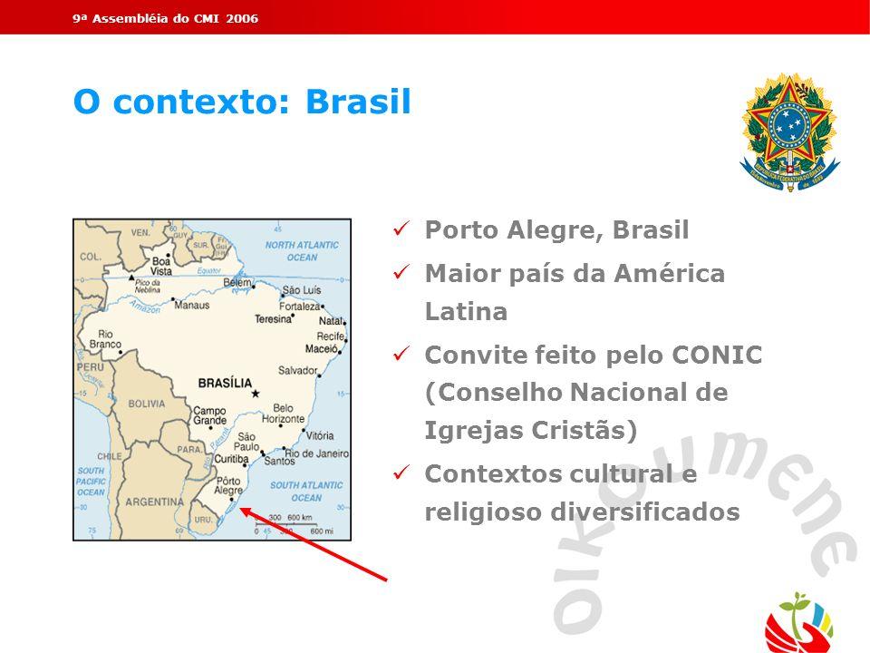 9ª Assembléia do CMI 2006 O contexto: Brasil Porto Alegre, Brasil Maior país da América Latina Convite feito pelo CONIC (Conselho Nacional de Igrejas