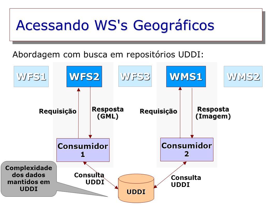 Acessando WS's Geográficos Consumidor 1 Consumidor 2 WFS2WMS1 WFS3 WMS2WFS1 Resposta (GML) Resposta (Imagem) Requisição UDDI Requisição Abordagem com
