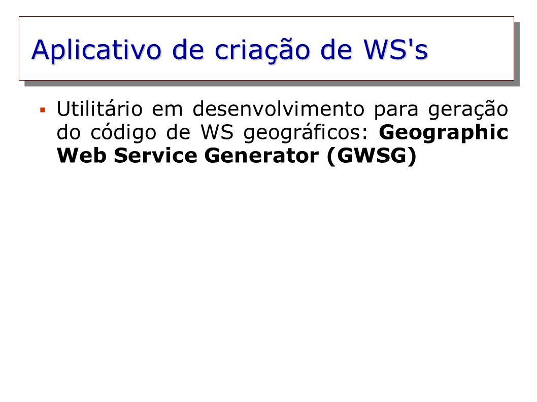 Aplicativo de criação de WS's Utilitário em desenvolvimento para geração do código de WS geográficos: Geographic Web Service Generator (GWSG)