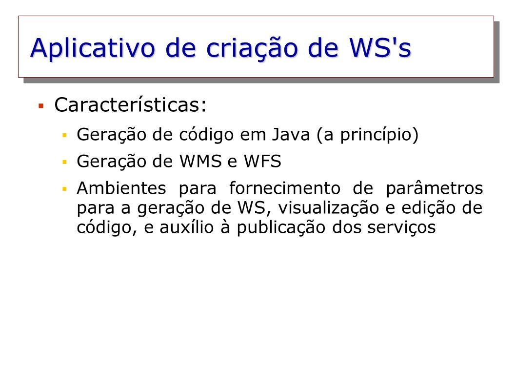 Aplicativo de criação de WS's Características: Geração de código em Java (a princípio) Geração de WMS e WFS Ambientes para fornecimento de parâmetros