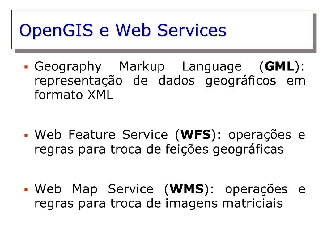 OpenGIS e Web Services Geography Markup Language (GML): representação de dados geográficos em formato XML Web Feature Service (WFS): operações e regra