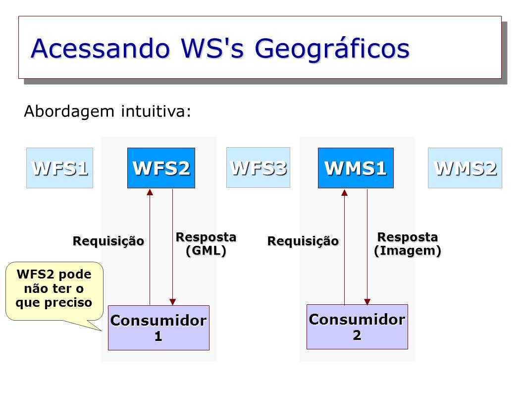 Acessando WS s Geográficos Consumidor 1 Consumidor 2 WFS2WMS1 WFS3 WMS2WFS1 Abordagem intuitiva: Requisição Resposta (GML) Resposta (Imagem) Requisição WFS1 pode ter o que preciso