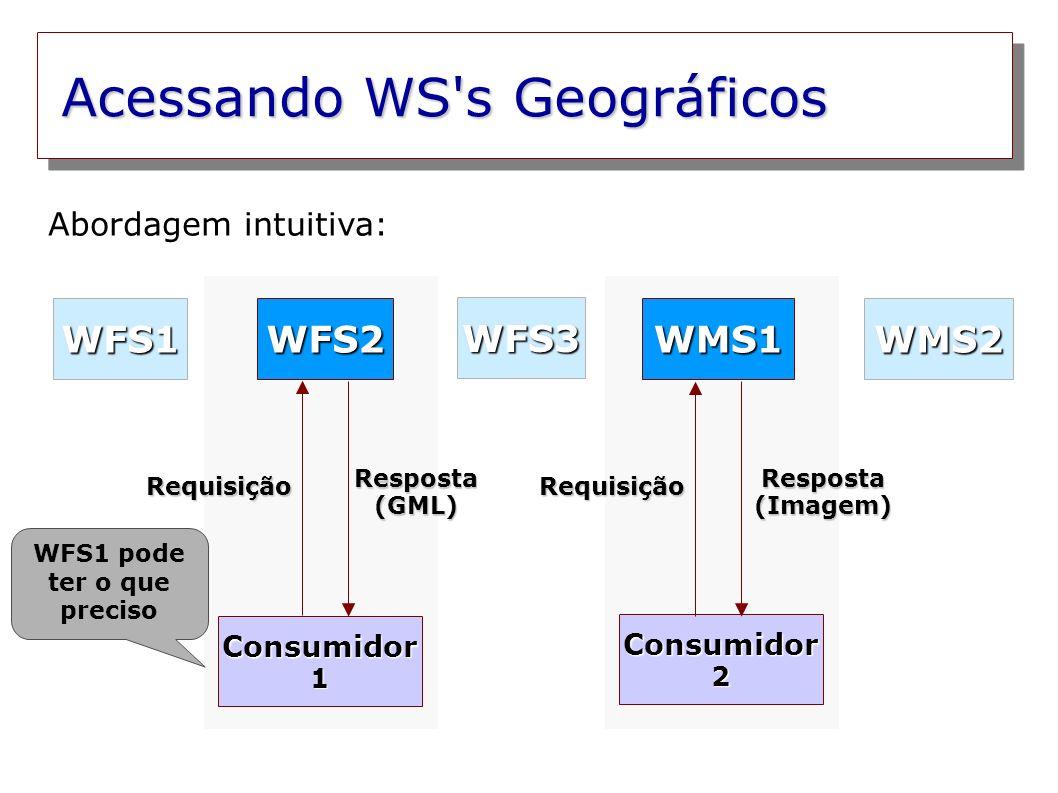 Acessando WS s Geográficos Consumidor 1 Consumidor 2 WFS2WMS1 WFS3 WMS2WFS1 Consulta UDDI Resposta (GML) Resposta (Imagem) Requisição UDDI Requisição Consulta UDDI Abordagem com busca em repositórios UDDI: UDDI guarda dados de WS genéricos