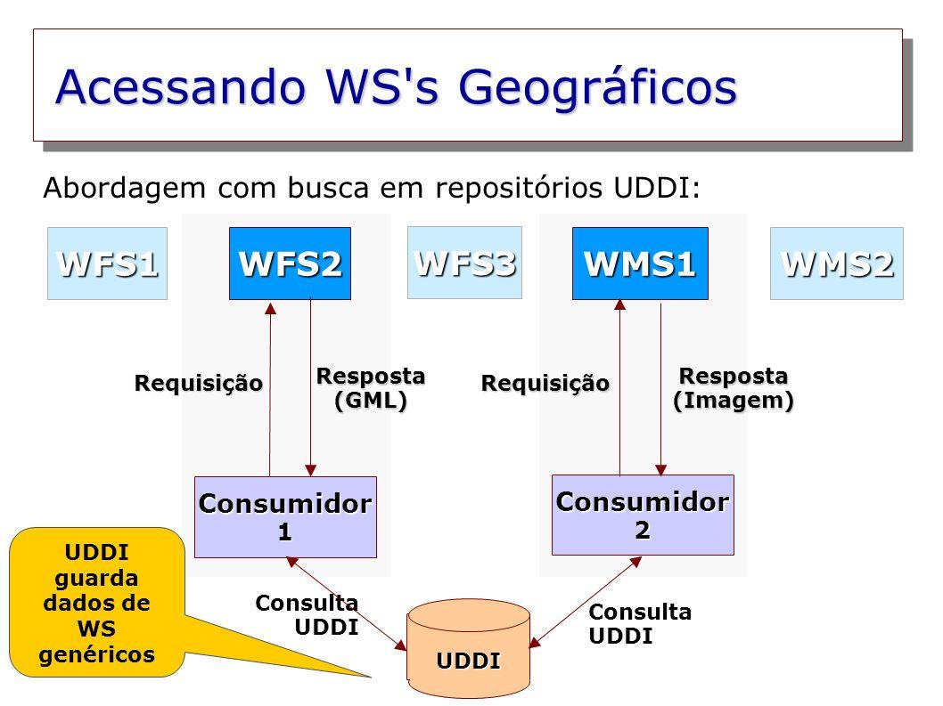 Acessando WS s Geográficos Consumidor 1 Consumidor 2 WFS2WMS1 WFS3 WMS2WFS1 Resposta (GML) Resposta (Imagem) Requisição UDDI Requisição Abordagem com busca em repositórios UDDI: Complexidade dos dados mantidos em UDDI Consulta UDDI