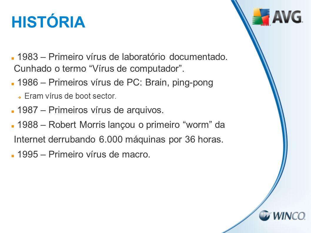 1983 – Primeiro vírus de laboratório documentado. Cunhado o termo Vírus de computador. 1986 – Primeiros vírus de PC: Brain, ping-pong Eram vírus de bo