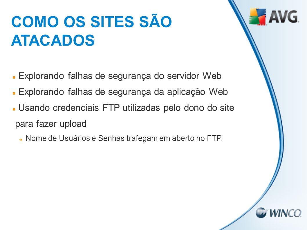 Explorando falhas de segurança do servidor Web Explorando falhas de segurança da aplicação Web Usando credenciais FTP utilizadas pelo dono do site par