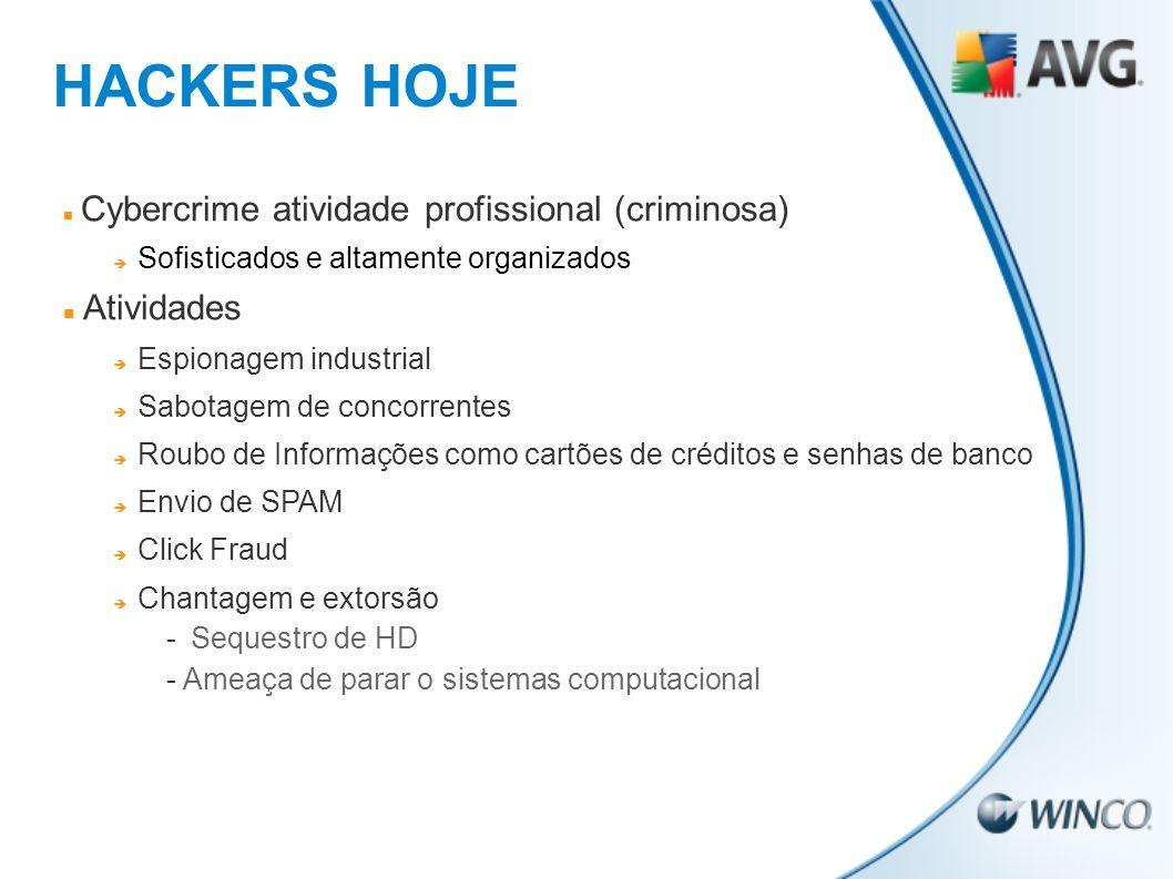 HACKERS HOJE Cybercrime atividade profissional (criminosa) Sofisticados e altamente organizados Atividades Espionagem industrial Sabotagem de concorre