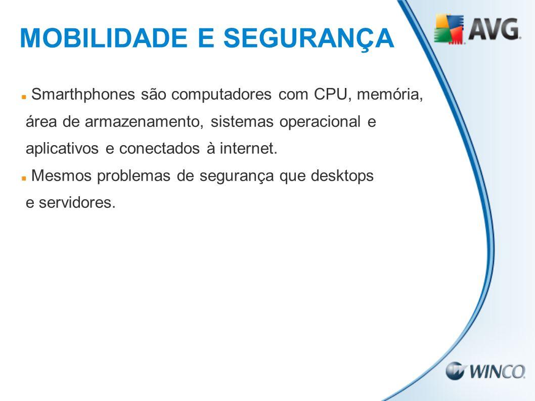 Smarthphones são computadores com CPU, memória, área de armazenamento, sistemas operacional e aplicativos e conectados à internet. Mesmos problemas de
