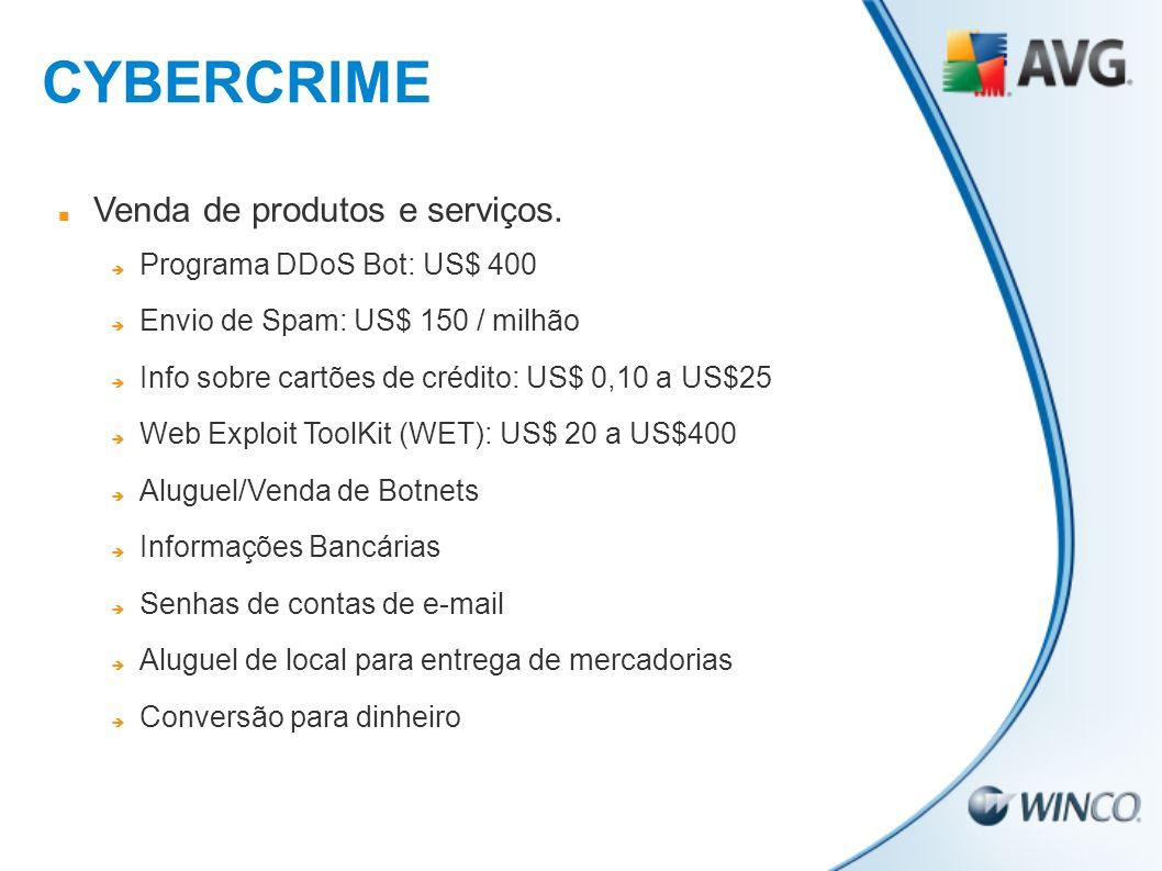 Venda de produtos e serviços. Programa DDoS Bot: US$ 400 Envio de Spam: US$ 150 / milhão Info sobre cartões de crédito: US$ 0,10 a US$25 Web Exploit T