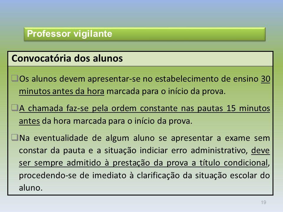 19 Convocatória dos alunos Os alunos devem apresentar-se no estabelecimento de ensino 30 minutos antes da hora marcada para o início da prova.