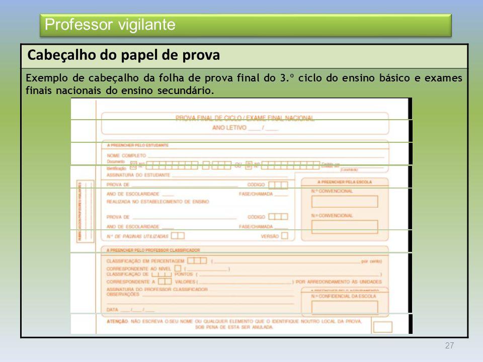 27 Cabeçalho do papel de prova Exemplo de cabeçalho da folha de prova final do 3.º ciclo do ensino básico e exames finais nacionais do ensino secundário.