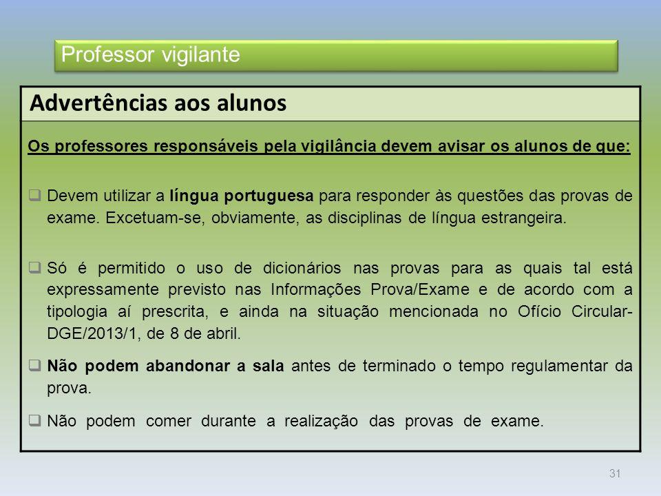 31 Advertências aos alunos Os professores responsáveis pela vigilância devem avisar os alunos de que: Devem utilizar a língua portuguesa para responder às questões das provas de exame.