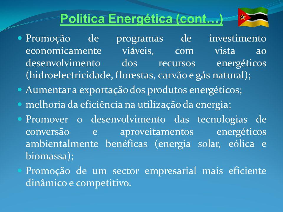 Politica Energética (cont…) Promoção de programas de investimento economicamente viáveis, com vista ao desenvolvimento dos recursos energéticos (hidro