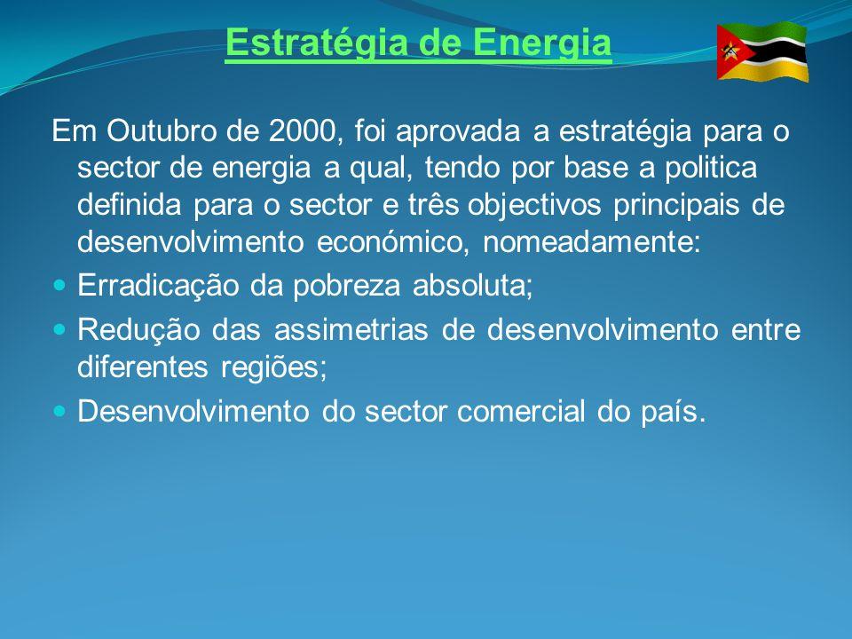 Estratégia de Energia Em Outubro de 2000, foi aprovada a estratégia para o sector de energia a qual, tendo por base a politica definida para o sector