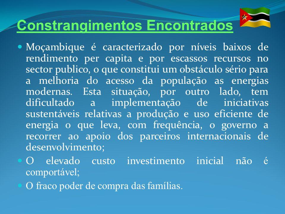 Constrangimentos Encontrados Moçambique é caracterizado por níveis baixos de rendimento per capita e por escassos recursos no sector publico, o que co