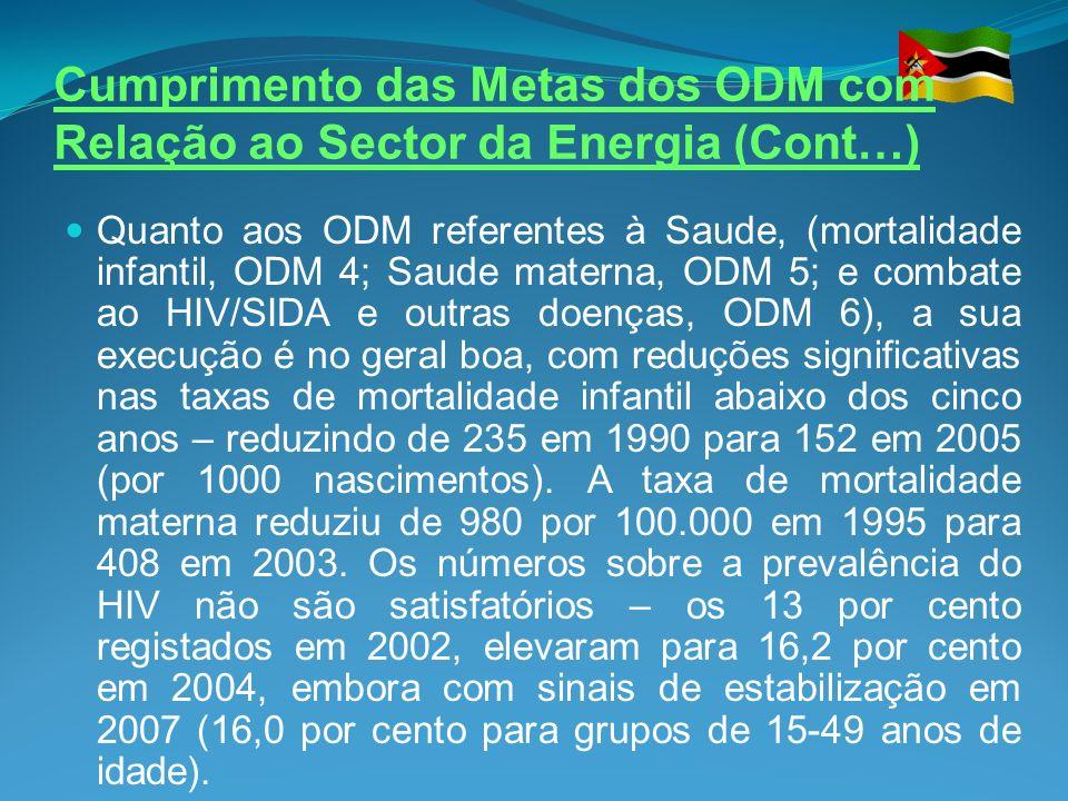 Cumprimento das Metas dos ODM com Relação ao Sector da Energia (Cont…) Quanto aos ODM referentes à Saude, (mortalidade infantil, ODM 4; Saude materna,