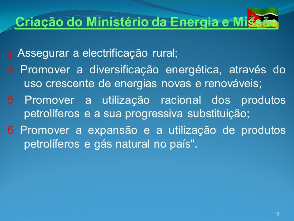 3 Assegurar a electrificação rural; 4 Promover a diversificação energética, através do uso crescente de energias novas e renováveis; 5 Promover a util