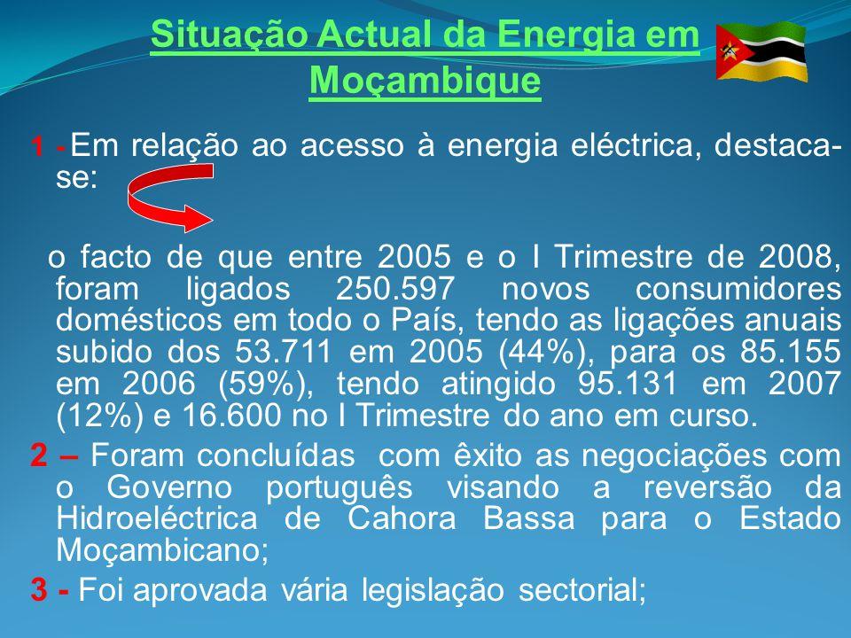 Situação Actual da Energia em Moçambique (cont…) 5 Em curso a elaboração da Politica Nacional de Energias Novas e Renováveis; 6 Concluída a elaboração da Política Nacional de Bio- combustíveis e sujeita a aprovação pelo Conselho de Ministros.