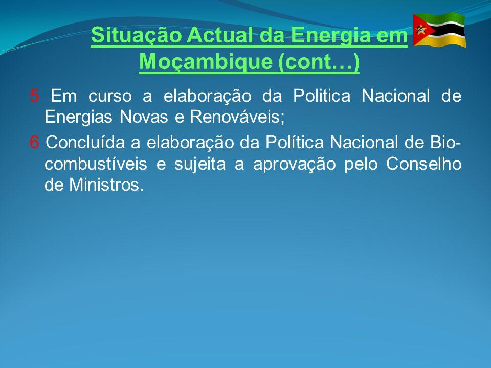 Situação Actual da Energia em Moçambique (cont…) GERACAO DE ENERGIA ELECTRICA O País conta com uma capacidade instalada de 2183.85 MW, distribuidos por 5 centrais hidroelectricas a saber: Cahora Bassa – 2075MW; Chicamba Real – 38,4MW; Mavuzi – 52MW Corumana – 16.6MW; Cuamba – 1.1MW; Lichinga – 0.75MW;