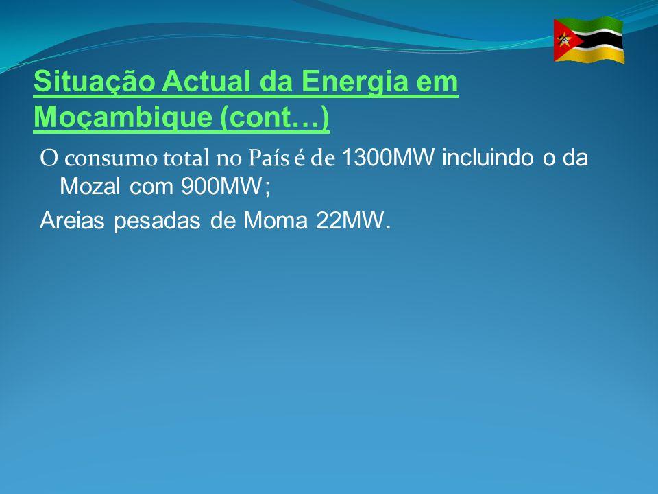 Situação Actual da Energia em Moçambique (cont…) O consumo total no País é de 1300MW incluindo o da Mozal com 900MW; Areias pesadas de Moma 22MW.