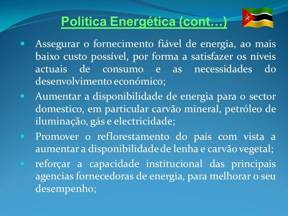 Politica Energética (cont…) Promoção de programas de investimento economicamente viáveis, com vista ao desenvolvimento dos recursos energéticos (hidroelectricidade, florestas, carvão e gás natural); Aumentar a exportação dos produtos energéticos; melhoria da eficiência na utilização da energia; Promover o desenvolvimento das tecnologias de conversão e aproveitamentos energéticos ambientalmente benéficas (energia solar, eólica e biomassa); Promoção de um sector empresarial mais eficiente dinâmico e competitivo.